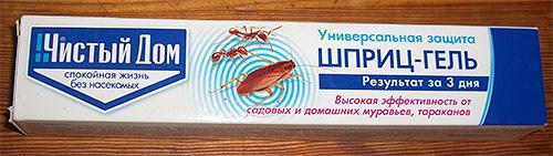 Un ejemplo de un gel insecticida de hormigas y cucarachas.