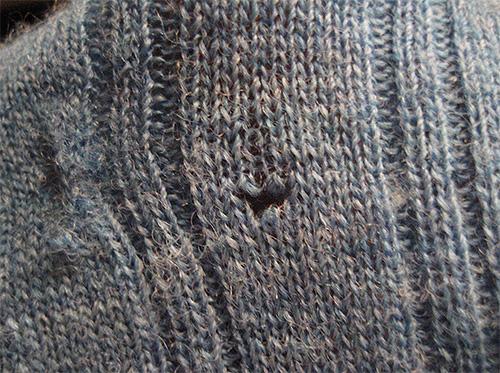 Este agujero en el suéter dejó las larvas de la polilla de la ropa.