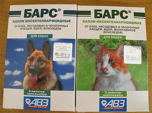Deja caer al leopardo de las pulgas para perros y gatos.