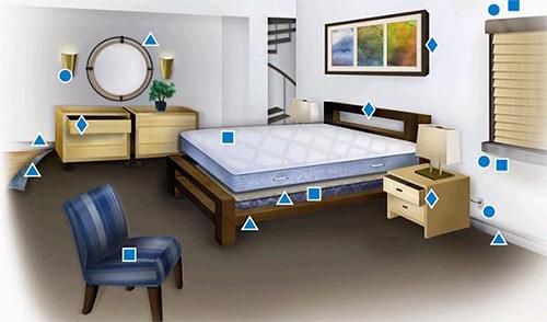 La imagen muestra el hábitat favorito para las chinches en el apartamento.