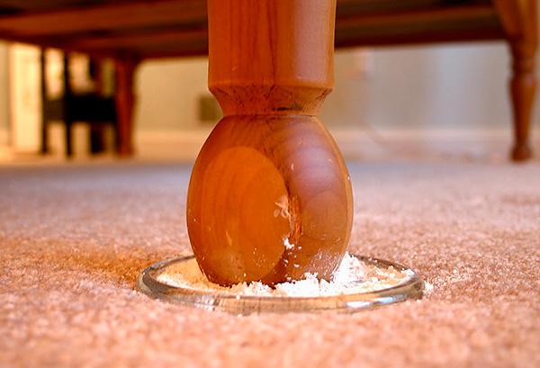 Un ejemplo del uso de polvo insecticida para prevenir la cría de chinches en el apartamento.