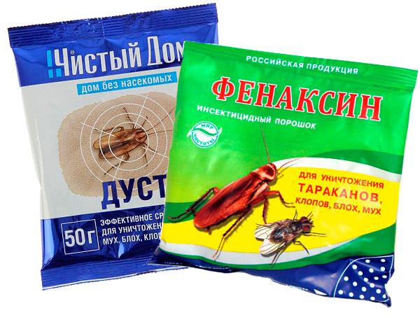 Ejemplos de agentes insecticidas en polvo.