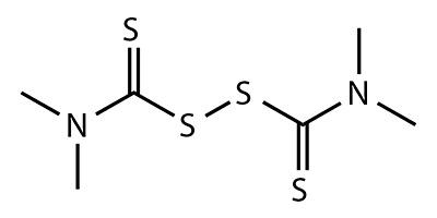 Thiuram (tetramethylthiuram disulfide) - fórmula química